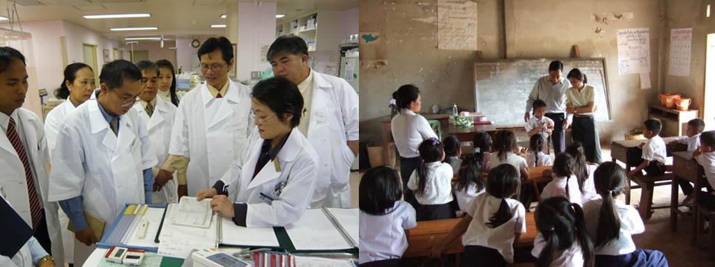 日本大学医学部の視察(左)とラオス農村地域における歯ブラシ指導の授業(右)